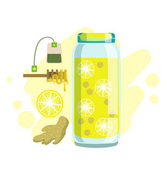 lemon ginger honey and tea smoothie non vector image vector image