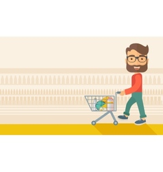 Male shopper pushing a shopping cart vector