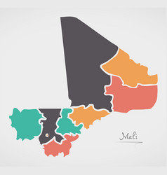 Mali map with states and modern round shapes vector