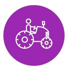 Man driving tractor line icon vector