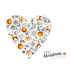 Merry Christmas and New Year gold love decoration vector image vector image