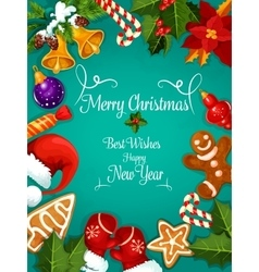 Merry christmas new year best wishes greeting vector