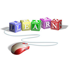 mouse and learn blocks concept vector image vector image