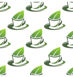 Organic green tea seamless pattern vector