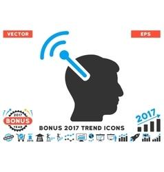 Radio Neural Interface Flat Icon With 2017 Bonus vector image vector image