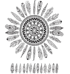 Round pattern with feathers in native style vector image vector image