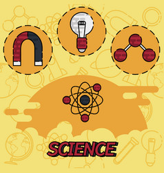 Science flat concept icons vector