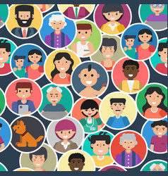 seamless pattern with people faces vector image
