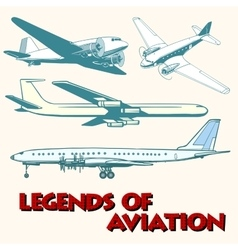 Set of abstract retro planes vector