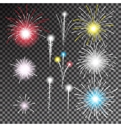 Set of isolated fireworks vector
