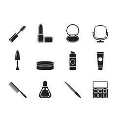 Silhouette cosmetic and make up icons vector image