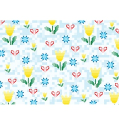 spring flowers on a background with pixels vector image vector image