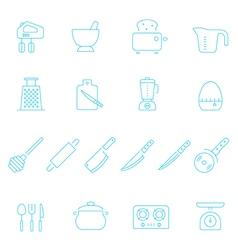 Thin lines icon set - kitchenware vector image