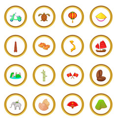 Vietnam travel icons circle vector