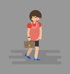 Walking business woman in depression vector