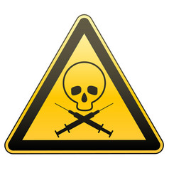 warning sign drug addiction and aids caution - vector image
