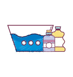 water pail with detergent liquid and cleach bottle vector image