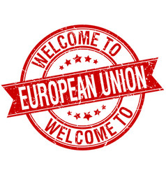 Welcome to european union red round ribbon stamp vector