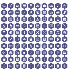 100 calculator icons hexagon purple vector