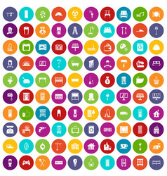100 comfortable house icons set color vector