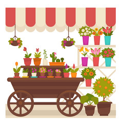 Trade tent with natural flowers in pots vector