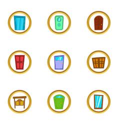 front door icons set cartoon style vector image