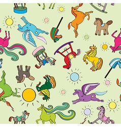 toy horses pattern vector image