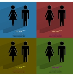 Color set suluet men women flat modern web button vector