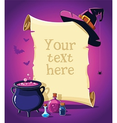 Halloween pink banner with empty paper scroll vector