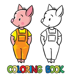 Little piglet coloring book vector