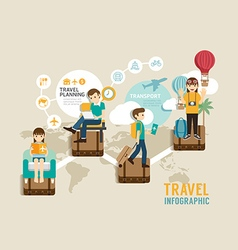 Travel board game flat line icons concept infograp vector image