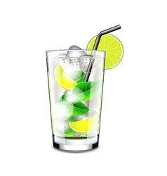 Mojito cocktail isolated on white vector
