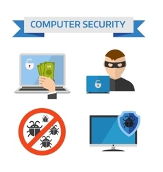 Flat design concepts for internet security mobile vector