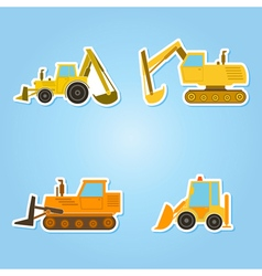 Color icon set with construction machines vector