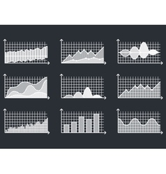 Charts in thin line style outline graphs for vector