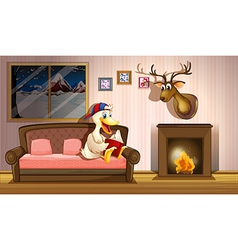 A duck reading a book beside a fireplace vector image vector image