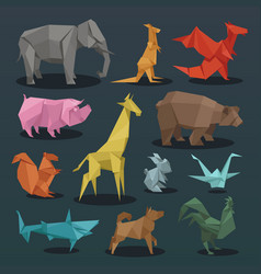 animals origami set of wild animals creative vector image vector image