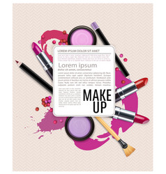 Background with cosmetics and make-up vector