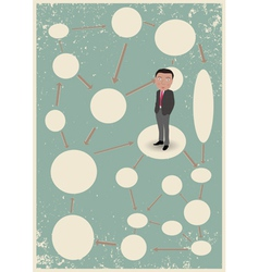 Blank diagram with clouds and businessman vector image