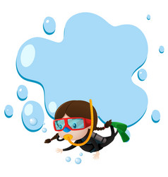 Border template with kid scuba diving vector