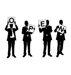 businessmen holding signs vector image vector image
