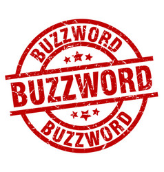 Buzzword round red grunge stamp vector