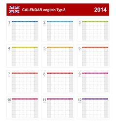 Calendar 2014 English Type 8 vector image vector image