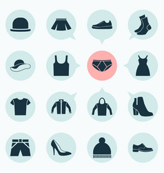 Clothes icons set collection of elegance vector