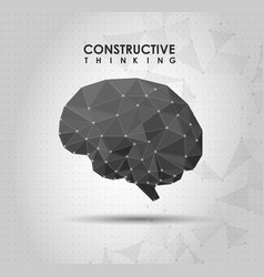 conceptual polygonal brain abstract vector image