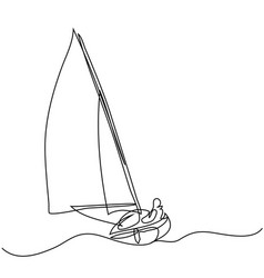 Continuous line drawing of sailboat with captain vector