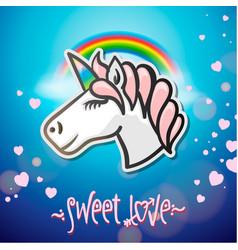 Cute unicorn animal sticker vector