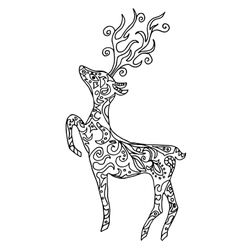 deer for coloring or tattoo isolated on white vector image