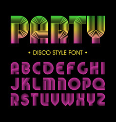 disco party style font vector image vector image