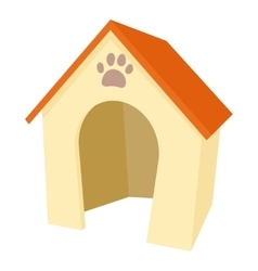 Dog house icon cartoon style vector